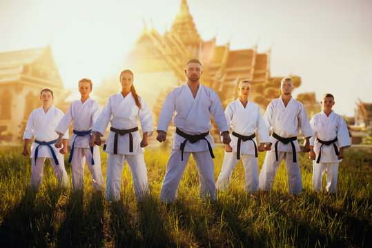 Male and female karate group against temple
