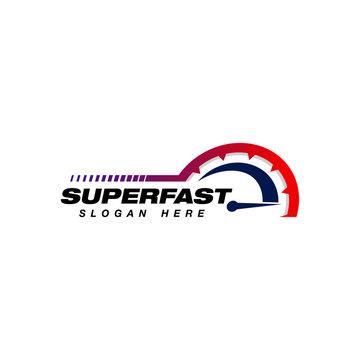 speed vector logo design. speedometer icon symbol design template