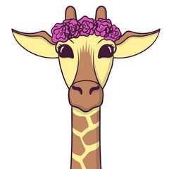 Cute Giraffe with flowers on the head. Print for fabric, t-shirt, poster. Vector illustration