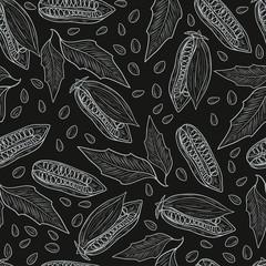 Sesame. Wallpaper, seamless. Leaf, seed, fruit. Sketch. Monochro