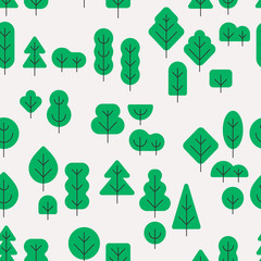 Seamless forest pattern with different shapes trees flat style on white background
