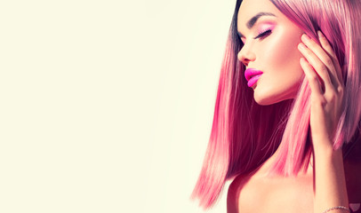 Beauty model girl with perfect healthy hair and beautiful makeup Ombre pink with grey dyed hair