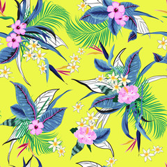 vector seamless beautiful artistic bright tropical pattern with exotic forest. Colorful original stylish floral background print, bright rainbow colors on vivid yellow background.
