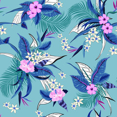 Vector seamless beautiful artistic bright tropical pattern with exotic forest. Colorful original stylish floral background print, bright rainbow colors on  blue