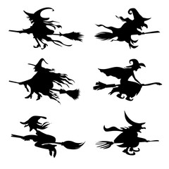 Halloween icons set of witch silhouette