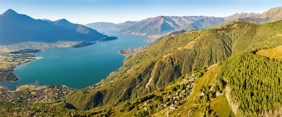 Vista aerea panoramica dell'Alto Lario verso sud - Lago di Como (IT)