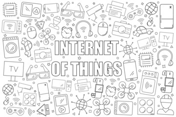 Internet of things background from line icon. Linear vector pattern. Vector illustration