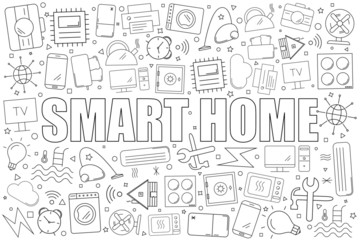 Smart home background from line icon. Linear vector pattern. Vector illustration