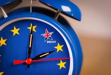 Retro alarm EU clock representing the countdown until Brexit.