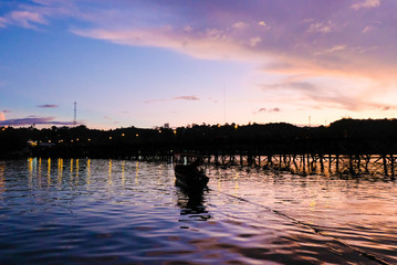 Photos of the river evening on the way of the waterfront community. Simple concept of living together with nature.