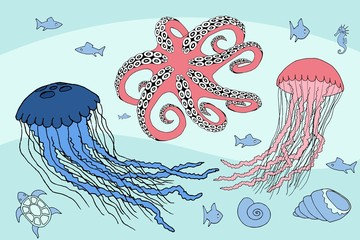 two jellyfish, octopus and sea beasts marine life