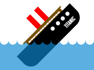 Titanic sinking in deep, blue water flat cartoon illustration