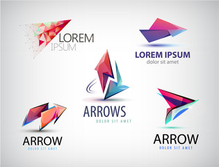Vector set of abstract logos, arrows, pointers. Business sign, web