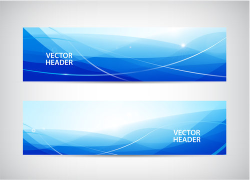 Vector set of abstract wavy horizontal headers, web banners. Water flow, stream.