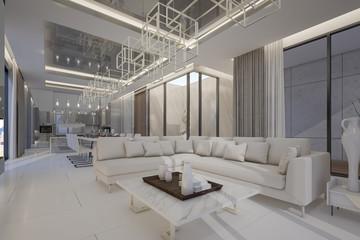 Interior Design Of Luxury Penthouse In High Rise Condominium , 3d Rendering
