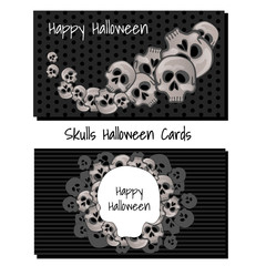 Poster in style of holiday all evil Halloween isolated on white background. Human skull on black background. Sketch for cover of greeting card or party invitation. Vector cartoon close-up illustration