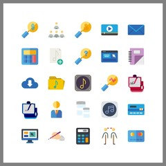 25 laptop icon. Vector illustration laptop set. music file and mail icons for laptop works