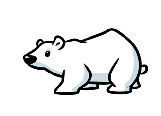 Polar bear animal character minimalism cartoon illustration isolated image