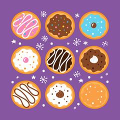 Jewish holiday Hanukkah greeting card design with sufganiyot donut set