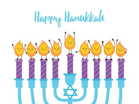 Jewish holiday Hanukkah greeting card design with menorah and cute candle lights