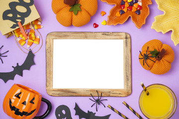 Halloween holiday background with photo frame