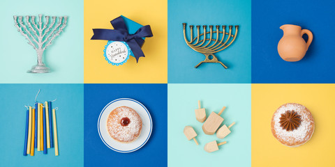 Jewish holiday Hanukkah banner design with menorah, gift box, dreidel and sufganiyot