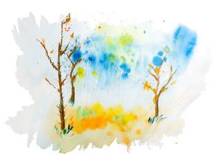 Watercolor illustration of autumn landscape bare wood hand drawn