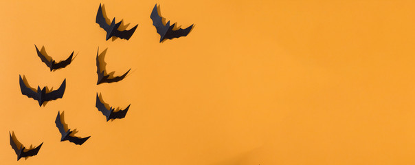 Halloween paper bats overhead view on a solid color