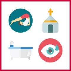 4 meditation icon. Vector illustration meditation set. visibility and church icons for meditation works