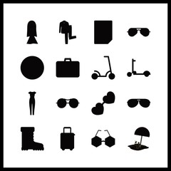 16 hipster icons set