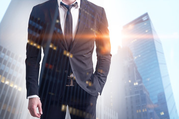 Confident business leader in modern city