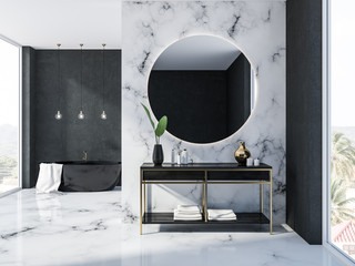 White marble bathroom interior, tub and sink