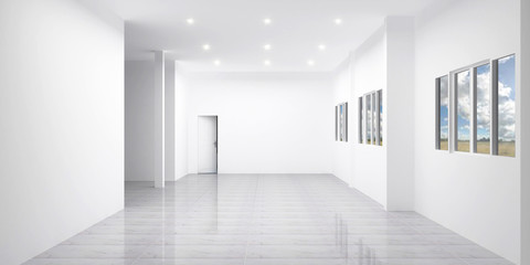 Beautiful room, Empty room and tiles floor , 3D rendering