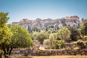 Panorama of the Agora overlooking famous Acropolis hill, Athens, Greece