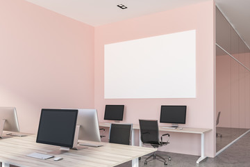 Pink open plan office interior, poster close up