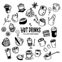 商品情報に戻る Hot Drinks Illustration Pack (Elements)/winter,coffee,cafe,cup/Doodle Clip Art/Hand Drawn/