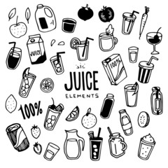 Juice Illustration Pack (Elements)/fruit,fresh,drink,Smoothies/Doodle Clip Art/Hand Drawn
