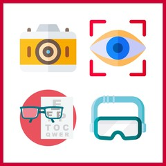 visual icon. snellen chart and eye scan vector icons in visual set. Use this illustration for visual works.