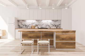 White and marble kitchen in studio flat Wall mural
