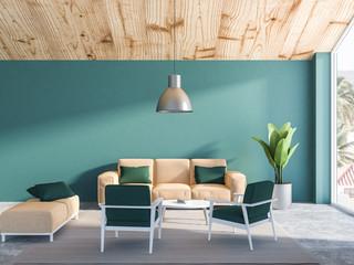 Green living room interior, beige sofa