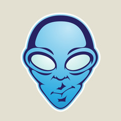 Blue Alien Head Cartoon Icon Vector Illustration