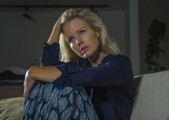 depressed and anxious beautiful blonde woman suffering depressio