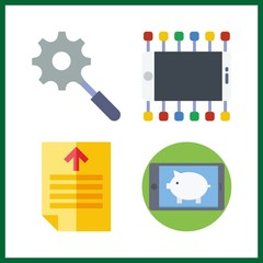 4 screen icon. Vector illustration screen set. search and text file icons for screen works