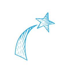 Blue Vectorized Ink Sketch of Shooting Star Illustration