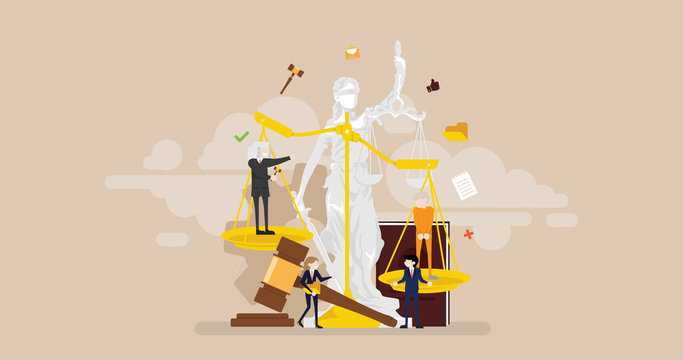 Justice Courtroom Tiny People Character Concept Vector Illustration, Suitable For Wallpaper, Banner, Background, Card, Book Illustration, And Web Landing Page
