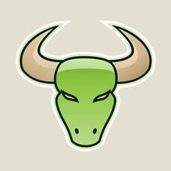 Green Strong Bull Icon Vector Illustration