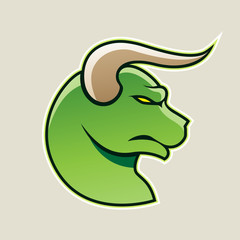 Green Cartoon Bull Icon Vector Illustration