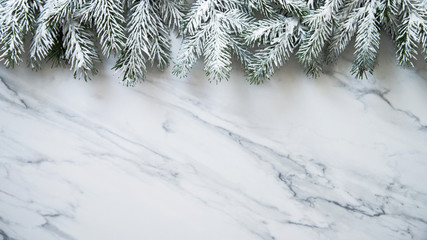 Christmas and New Year holiday background. Xmas greeting card. Christmas tree border. Flat lay