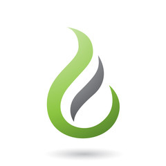 Green Letter E Shaped Fire Icon Vector Illustration