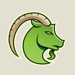 Green Goat wıth a Long Horn Icon Vector Illustration